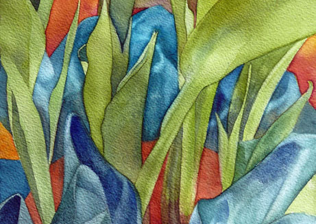 Tulip Leaves  10x6 unframed $200