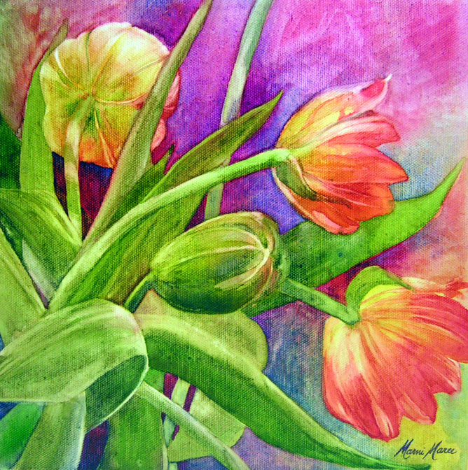 Tulips 10×10 watercolor on canvas