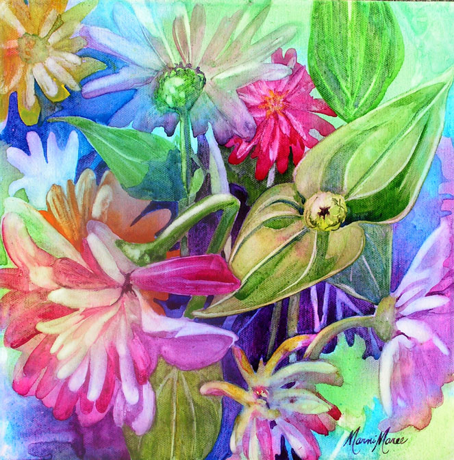 Zinnias 12x12 watercolor on canvas SOLD