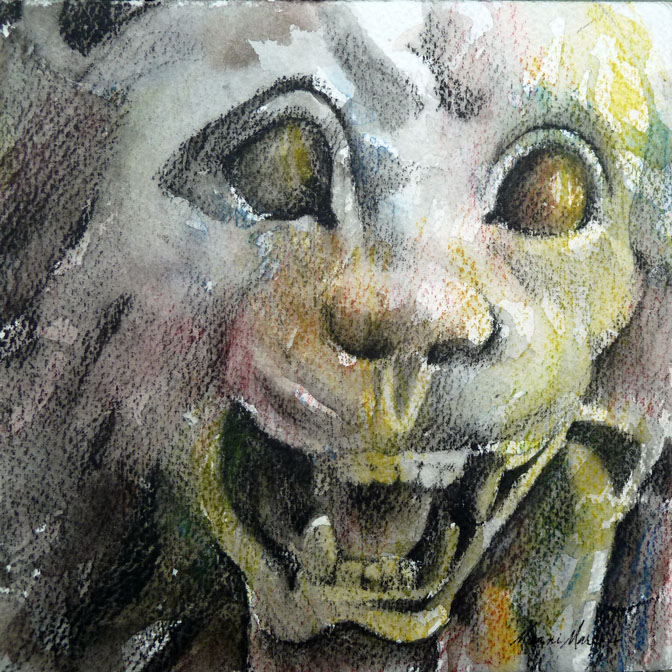 German Gargoyle 5 pencil and watercolor 6x6