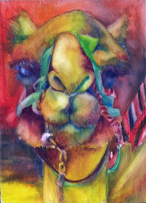 Camel 8 watercolor on board, 7x5