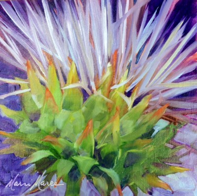 Thistle 10x10 watercolor on canvas SOLD