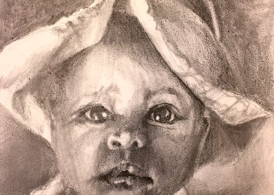 "Baby in Pink, 5""x5"" graphite on gesso board in 9x9 black frame, $100."