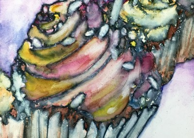 "Cupcakes, 5""x5"" watercolor on gesso board in 9""x9"" black frame, $100"