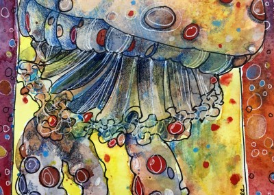 "Jelly Fish, 8""x6"" watercolor and ink, in a 12x9 mat, $75"