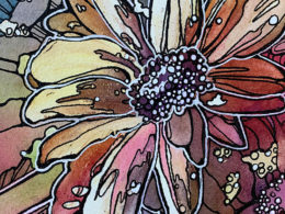 Daisy watercolor and ink