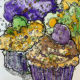 Cupcakes watercolor monoprint