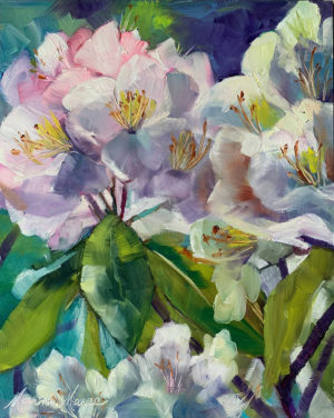 White Azaleas, oil by Marni Maree